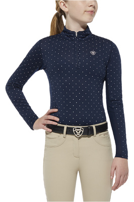 Ariat Girls Sunstopper Top Navy Dot