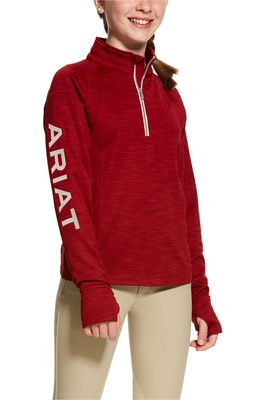 Ariat Girls Tek Team 1/2 Zip Sweatshirt Laylow Red