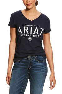 Ariat Womens Block Logo Tee Navy