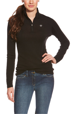 Ariat Womens Cadece Wool 1/4 Zip Baselayer Top Black