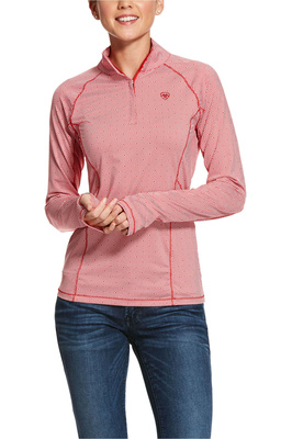 Ariat Womens Lowell 2.0 1/4 Zip Long Sleeve Baselayer Geo Red