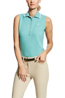 Ariat Womens Prix Sleeveless Polo Cold Plunge