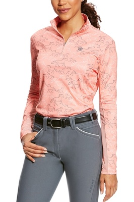 Ariat Womens Sunstopper 1/4 Zip Peach Twig Print