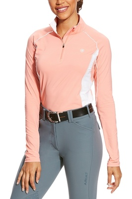 Ariat Womens Tri Factor 1/4 Zip Tech Top Peach Twig