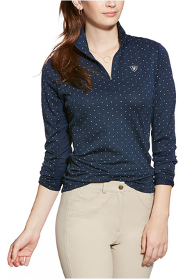 Ariat Womens Sunstopper 1/4 Zip Baselayer Navy Dot