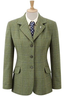 Caldene Girls Competition Jacket Southwold Tweed Check Green
