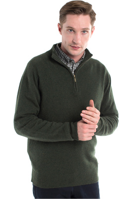Dubarry Mens Mullen Half Zip Crew Sweater Olive