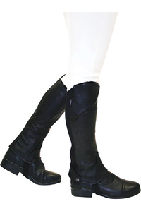 Dublin Childrens Stretch Fit Half Chaps With Patent Piping Black