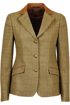 Dublin Womens Albany Tweed Suede Collar Tailored Riding Jacket - Brown