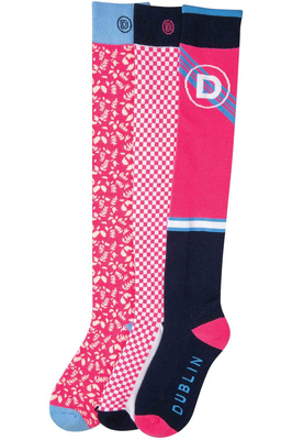 Dublin Womens Marianne Country 3 Pack of Socks Flamingo