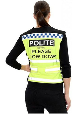 Equisafety Polite 'Please Slow Down' Waist Coat Yellow