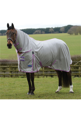 Weatherbeeta Comfitec Essential Mesh II Combo Neck Fly Rug Silver / Purple / Blue