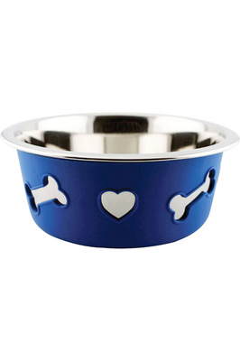 Weatherbeeta Non-Slip Stainless Steel Silicone Bone Dog Bowl - Blue