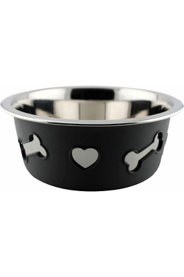 Weatherbeeta Non-Slip Stainless Steel Silicone Bone Dog Bowl - Dark Grey