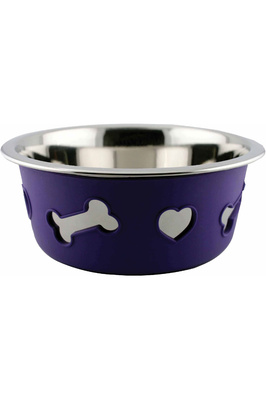 Weatherbeeta Non-Slip Stainless Steel Silicone Bone Dog Bowl - Dark Purple