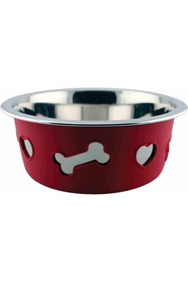 Weatherbeeta Non-Slip Stainless Steel Silicone Bone Dog Bowl - Raspberry