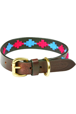 Weatherbeeta Polo Leather Dog Collar - Beaufort Brown / Pink / Blue