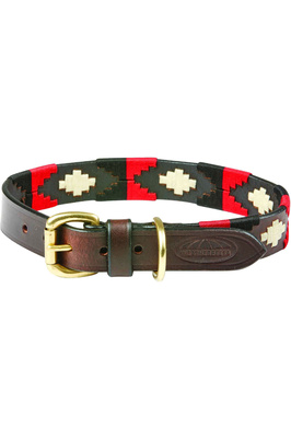 Weatherbeeta Polo Leather Dog Collar - Cowdray Brown / Black / Red