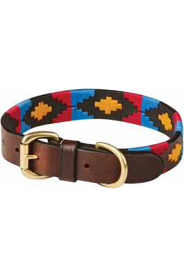 Weatherbeeta Polo Leather Dog Collar - Cowdray Brown/Pink / Blue / Yellow