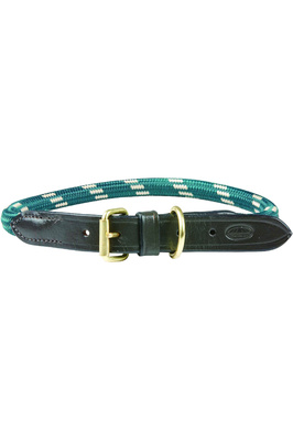 Weatherbeeta Rope Leather Dog Collar - Hunter Green / Brown